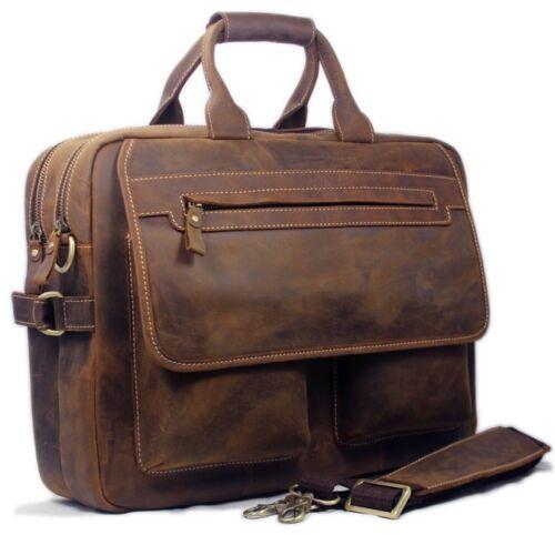 """Men Full Grain Real Leather Tote Bag Shoulder bag messenger 15/""""laptop Briefcase"""