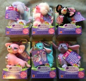 6x-Barbie-Posh-Pets-Lip-Gloss-Pets-Hunde-mit-Anhaenger-2003-Mattel-B5871-Ovp
