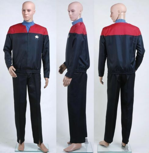 PUY73 Star Trek Voyager Command Captain Cosplay Red Uniform Jacket Cos