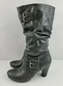 Relativity Womens Cassidy Size 6 M Gray Mid Calf Zip Up Heeled Boots