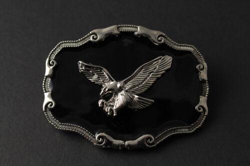 BLACK /& SILVER FLYING EAGLE BELT BUCKLE METAL WESTERN COWBOY COUNTRY