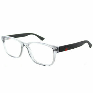 Image is loading Gucci-GG0011O-003-Transparent-Light-Grey-Plastic-Square- 65539312389