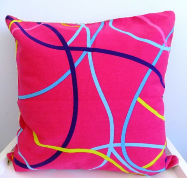Watermelon pink cushion cover with ribbons effect