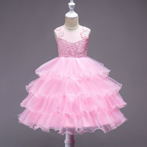 Kids Girl Gown Princess Formal Party Pageant Flower Bridesmaid Tulle Tutu Dress