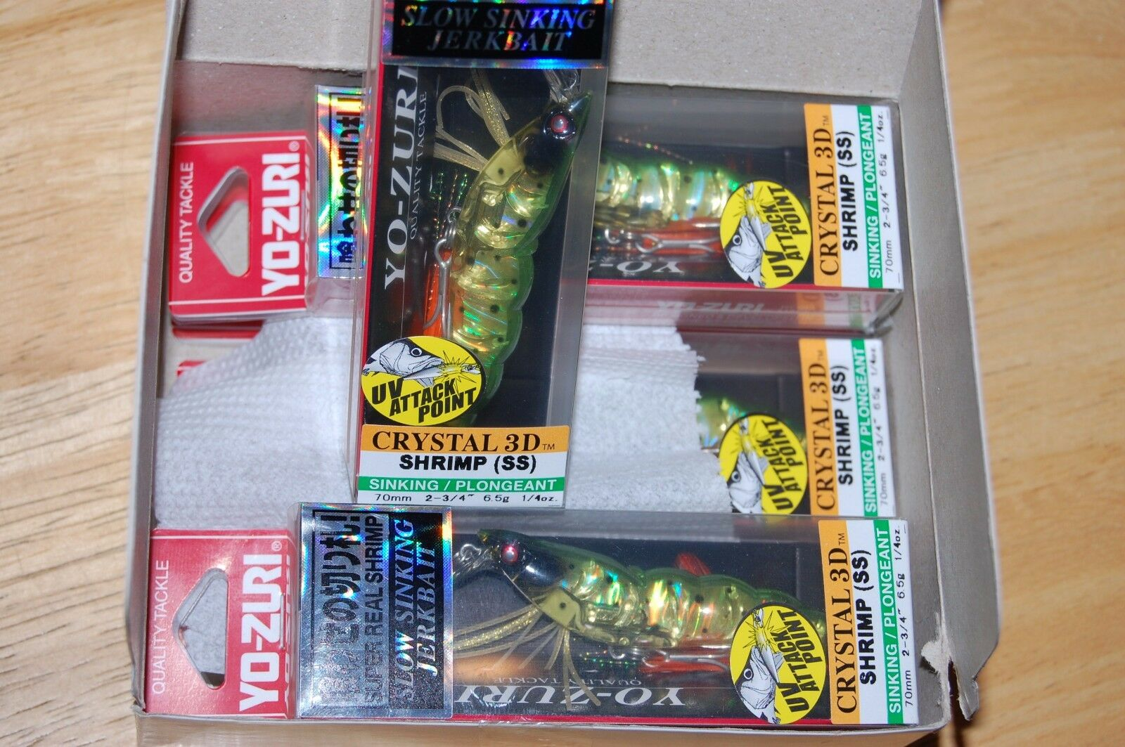Dealer box 6 lures yo zuri shrimp crystal 3d f987-hsp 2 3 4  1 4oz holo spotted