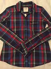 NWT Women's Abercrombie & Fitch Red/Blue/Green/White Check button down Shirt, M