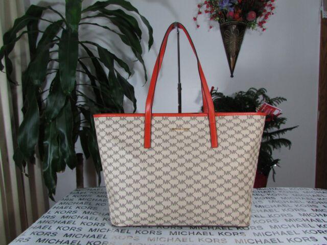 4b338932e3 NWT Michael Kors PVC Studio Emry Large Top Zip Tote Bag Natural   Orange
