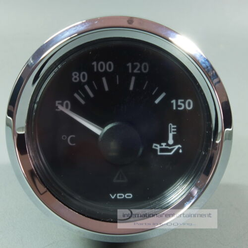 VDO TEMPERATURA INDICATORE OLIO 150 ° strumento oil gauge 12v//24v anello cromo