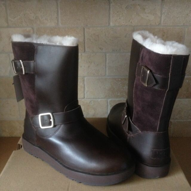 d023db30584 UGG Breida Waterproof Stout Brown Leather Fur BOOTS Womens Size 7 **