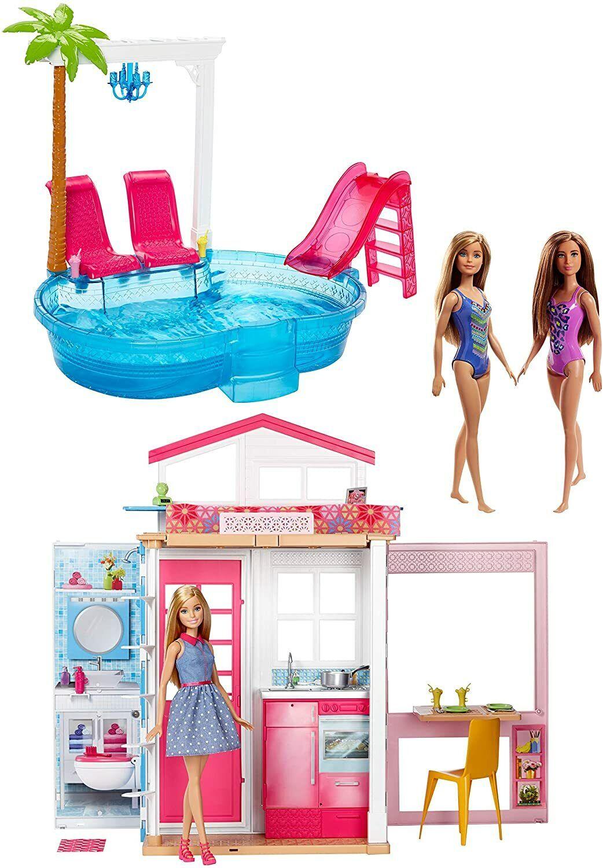 Barbie FXN66 Juego de Fiesta de Verano Casa, Muebles y Piscina con...