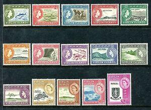 Virgin Islands 144-158 MVLH QE II definitive 1964: Bonita, Brown Pelican, x20266