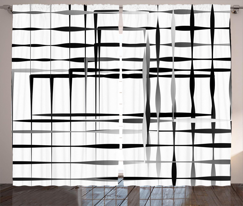 Cortinas Negro Arte Abstracto Geométrico Ventana Cortinas 2 pulgadas Panel Set 108x90