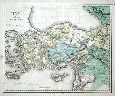 TURKEY & CYPRUS, ASIA MINOR, Gall & Inglis original antique hand col. map c1850