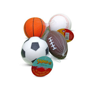 Squish-Eez Jumbo 4-Pack Slow Rising Sports Squishy Toy | 4"