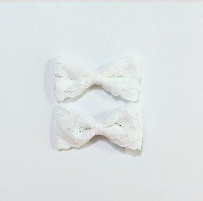 2x Mini White Lace Baby Hair Clip Bow Toddler// Girl Hair Clip  HC36