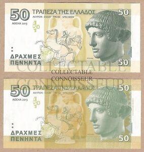 Greece-50-Drachma-2013-UNC-Private-Essay-SPECIMEN-Test-Note-Banknote-Set-2-pcs