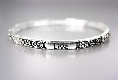 INSPIRATIONAL Thin Silver Black Filigree LIVE LAUGH LOVE Heart Stretch Bracelet