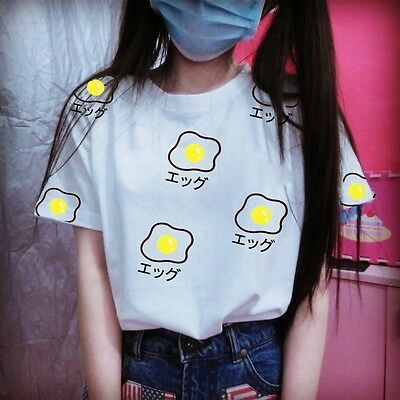 Egg Pattern White  Lolita T Shirts Tops Cute Short Sleeve