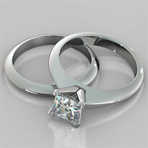 1.50 Ct Princess Genuine Moissanite Band Set 14K Solid White Gold Wedding Ring
