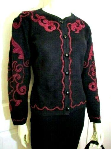 Vintage Domanni Italian Wool Blend Knit Skirt Suit