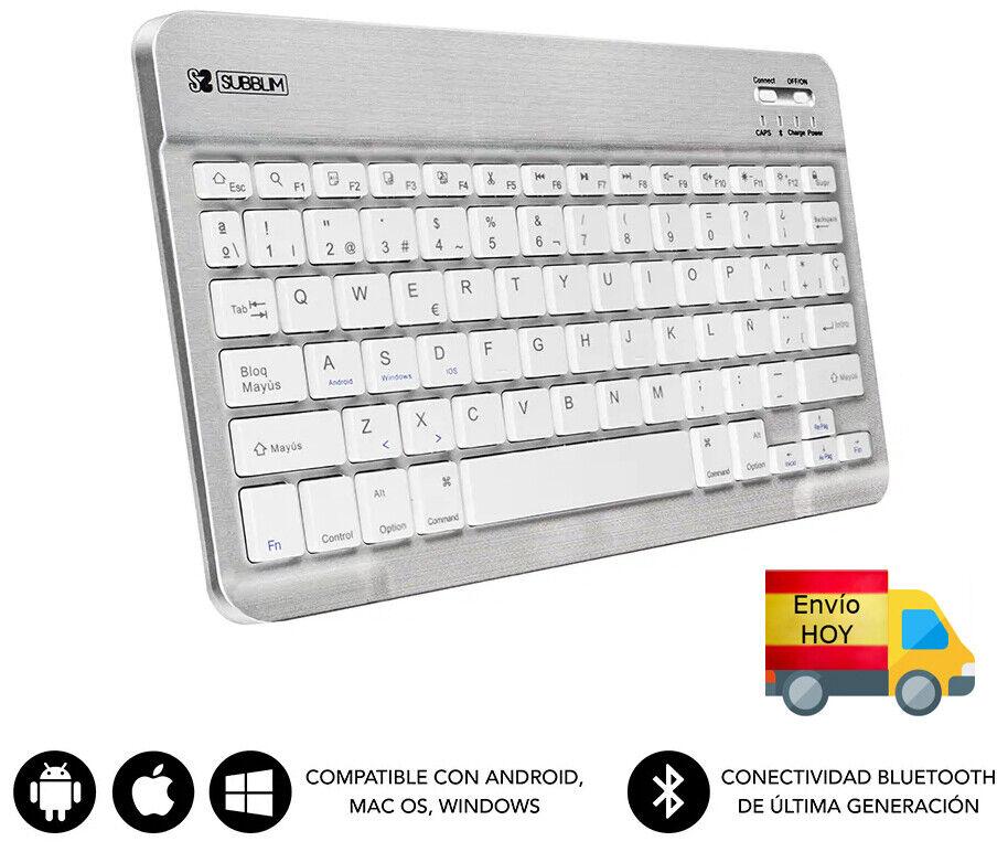 NUEVO TECLADO PC BLUETOOH 3.0 MINI COMPATIBLE PC ANDROID MAC ESPAÑOL Ñ...