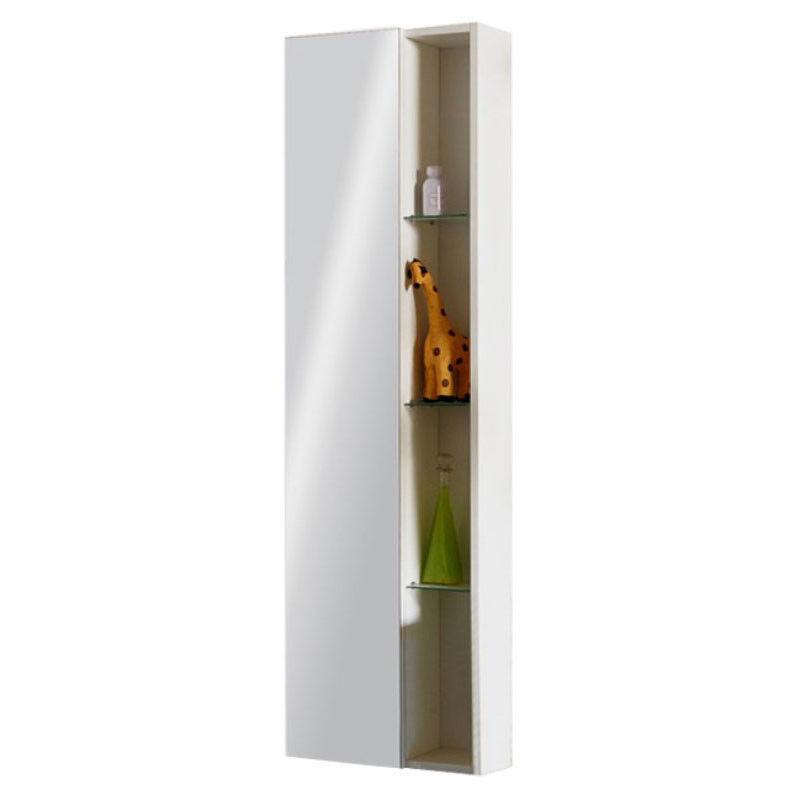 CG Bathroom H1200 W400 mm Glow Weiß Tall Wall Hung Mirror Storage Cabinet Unit
