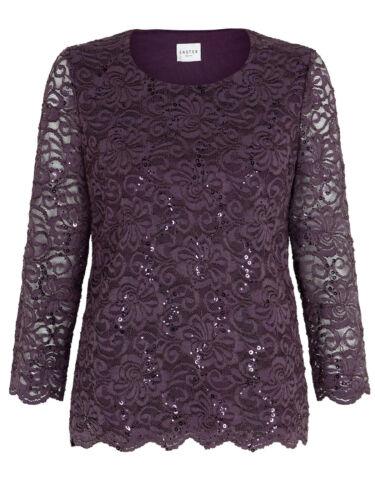 New Ex Debenams Eastex Plum Floral Lace Sequin Top//Blouse UK10-20 RRP £49