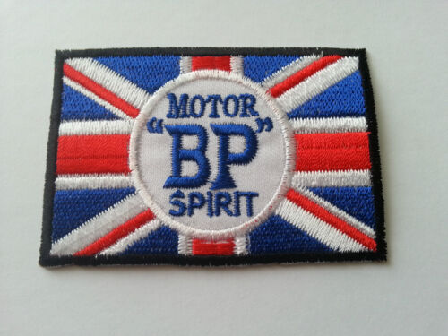 IRON ON PATCH: BP MOTOR SPIRIT FLAG MOTOR RACING RALLY SPORT FUELS OILS SEW