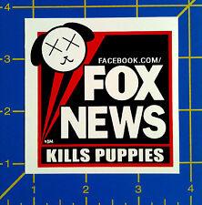 FOX NEWS Kills Puppies Sticker - Anti-Propaganda Anti-Racist vinyl sticker decal
