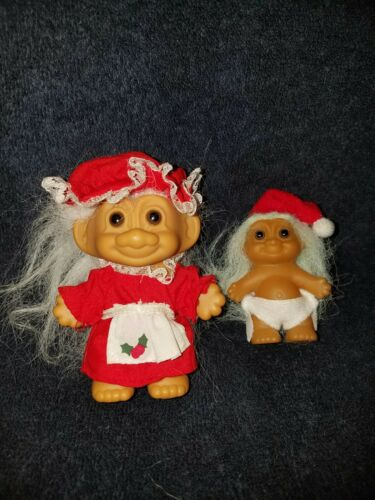 """RUSS"" Christmas Trolls 2 Mommy and Baby 3"" and 2"" tall TROLL DOLLS"