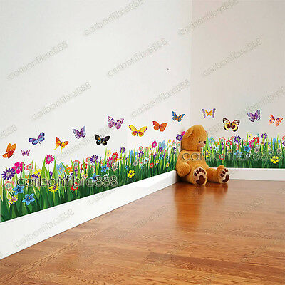 Large Colorful Butterfly Grass Wall Stickers Art Decor Wallpaper Border Mural
