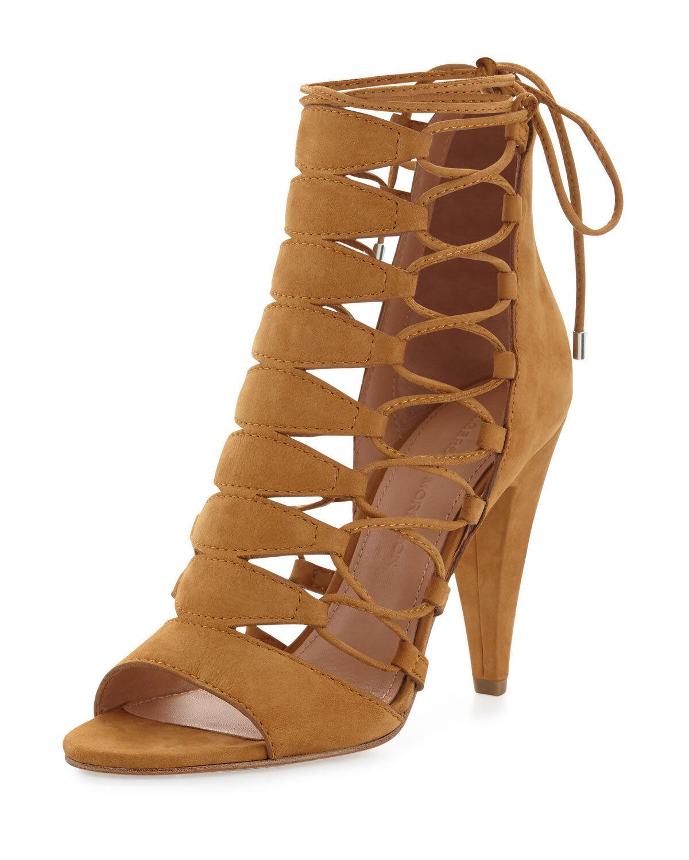 Sigerson Morrison Magola Sz 7 Lace Up Gladiator Sandals Heels Pumps Timber  475