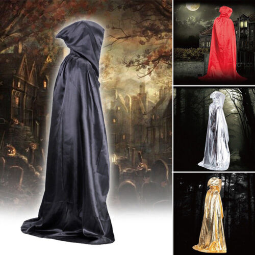 Hooded Satin Halloween Cloak Cape Wizard Vampire Witch Robe Gothic Medieval