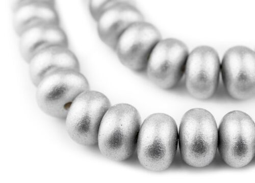 Silver Abacus Natural Wood Beads 10x15mm Round Large Hole 16 Inch Strand