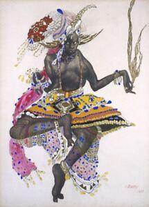 Le Dieu Bleu Costume design by LEON BAKST Vintage Ballet Poster