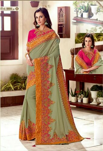 Details about  /Designer Grey Zari Embroidery Border Bollywood Sari Georgette Party Wear Saree