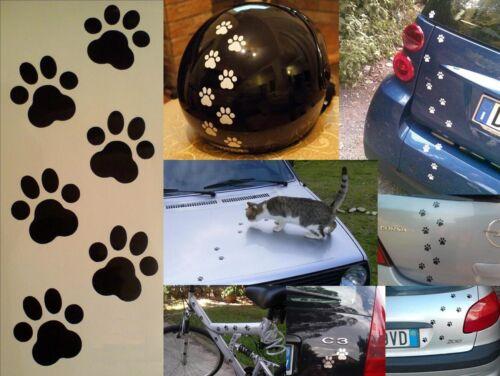 20 ADESIVI ZAMPETTE GATTO PVC DECAL CATS PAWS STICKERS AUTO MOTO CASCO COLORI
