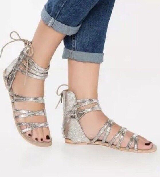 Free People Juliette Wrap Gladiator Sandale Flats Silver 37/ 6.5-7 98