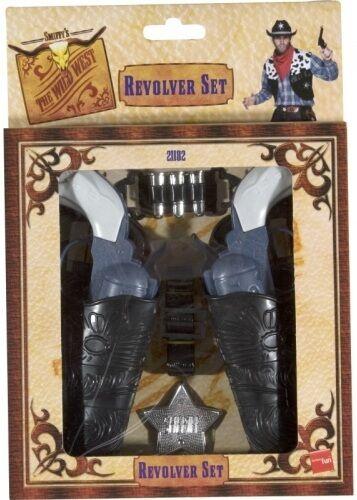 Cowboy Déguisement Jouet Pistolet Set revolver étuis badge Par Smiffys Neuf
