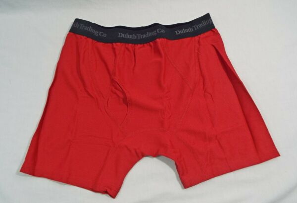 1 Coppia Duluth Trading Co Buck Naked Performance Boxer Slip Classico Rosso