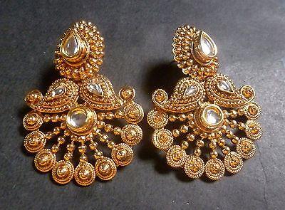Antique Gold Plated CZ Designer Flower Shape Kundan Polki Indian Earrings Jhumka