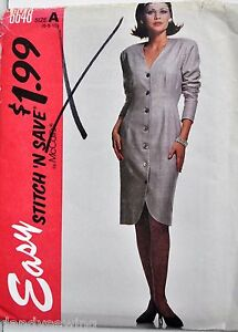 McCall-039-s-Sewing-Pattern-6648-Long-Sleeved-Button-Front-Dress-Size-6-8-10