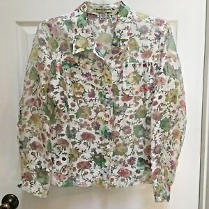 Bamboo-Traders-Spring-Floral-Burnout-Sheer-Button-Front-Blouse-size-Large