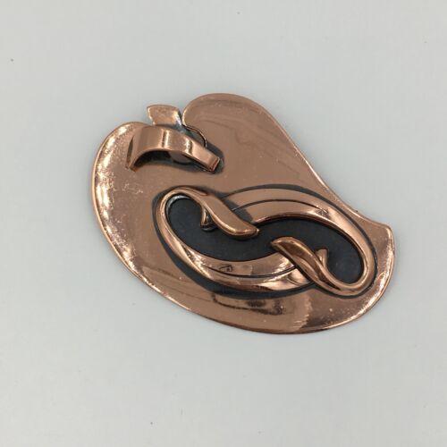 Vintage Modernist Abstract Brooch Coat Pin Bauhaus Style Aluminum Pin