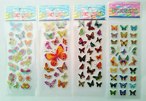 3D-Schmetterlinge-1-20-Folien-Aufkleber-Stickerbogen-Puffy-Kinder-Basteln