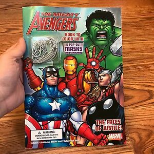 Marvel Avengers Coloring Book Pop Out Masks Iron Man Thor Hulk