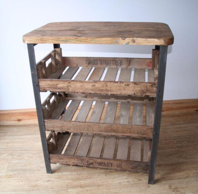 Vintage Industrial Kitchen Work Bench Shelf Unit Storage Steel and Wood