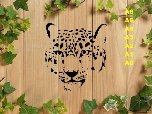 Thoughtful Leopard Face Stencil 350 micron Mylar not thin stuff #BigC002