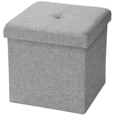 Folding Storage Ottoman Square Foot Rest Stool Bench Seat Poly Linen Grey