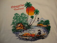 Chiang Mai Thailand Stream Souvenir White Cotton T Shirt Size L